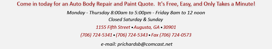 Auto Paint & Body Schedule